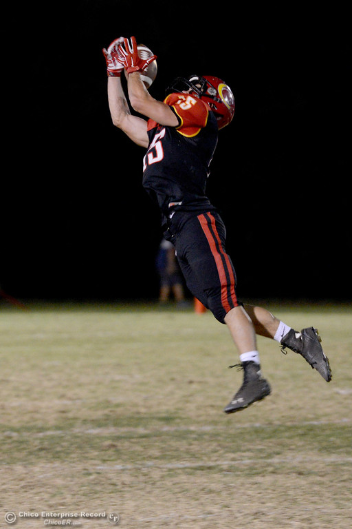 . Miles Fishback leaps to catch pass just out of reach Friday, Oct. 24, 2014, during the Almond Bowl at University Stadium in Chico, California. (Dan Reidel -- Enterprise-Record)