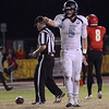 Pleasant Valley tight end Anthony Martin (5) thanks his quarterback after catching a pass for a first down in the Almond Bowl on Friday, Oct. 21, 2016, against Chico at University Stadium in Chico, California.