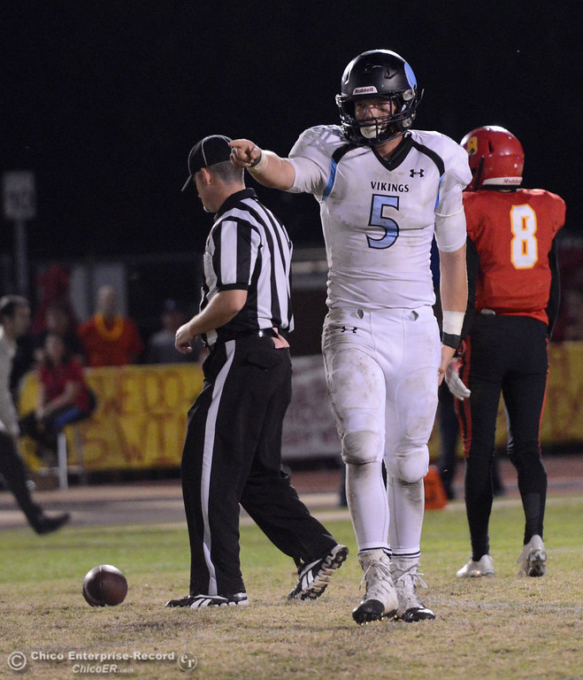 . Pleasant Valley tight end Anthony Martin (5) thanks his quarterback after catching a pass for a first down in the Almond Bowl on Friday, Oct. 21, 2016, against Chico at University Stadium in Chico, California.