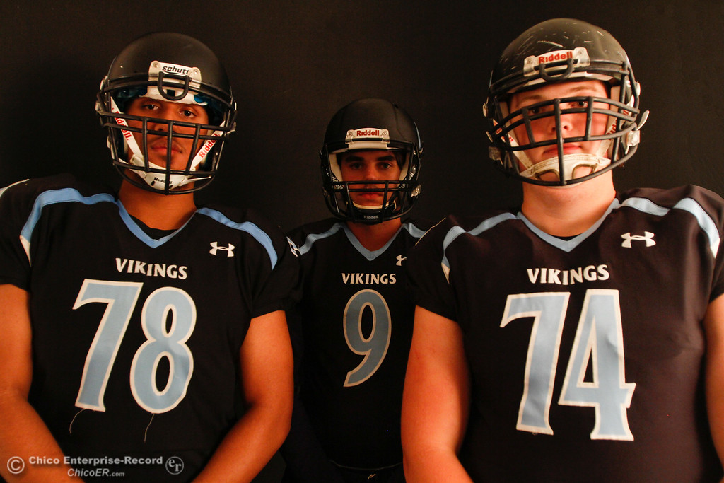 . Pleasant Valley\'s Syrus Tuitele, Kyle Linquist and Ashton Morgan at an Almond Bowl preview photoshoot October 18, 2016 at the Enterprise-Record office in Chico, California. (Emily Bertolino -- Enterprise-Record)