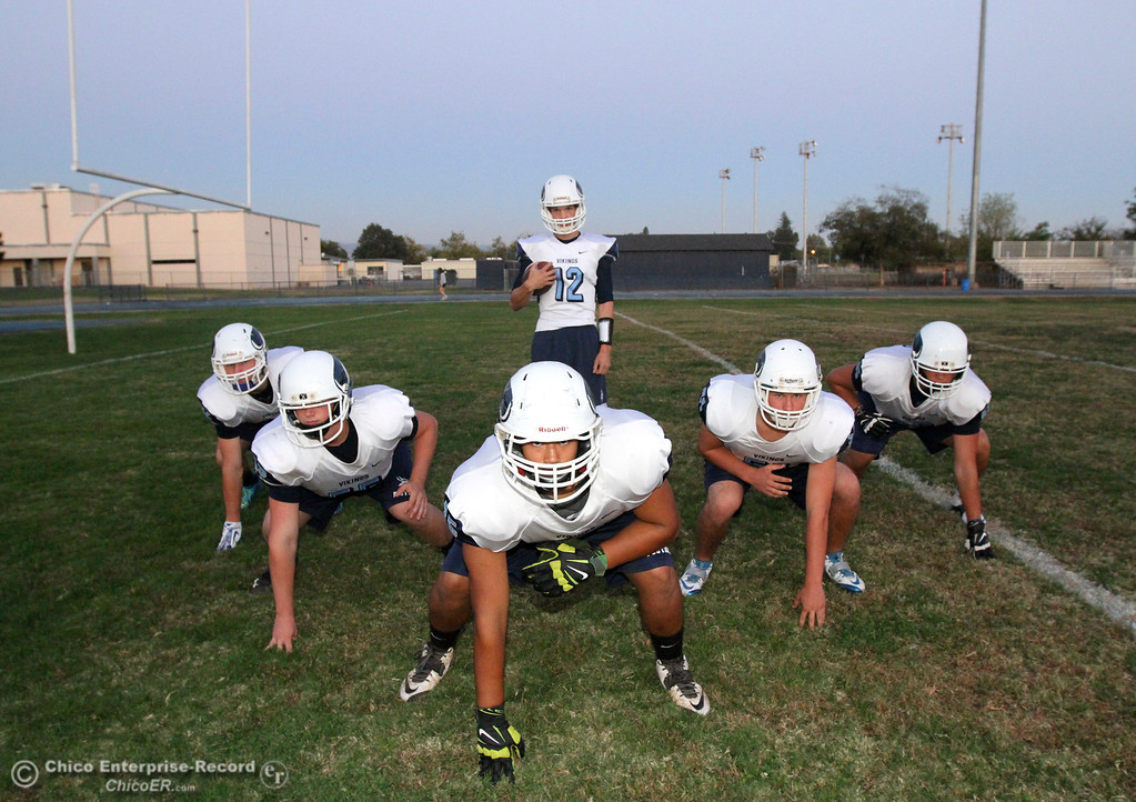 . Pleasant Valley\'s starting lineup is ready to face off with Chico High in the annual Almond Bowl October 19, 2014 (Emily Bertolino -- Enterprise-Record)