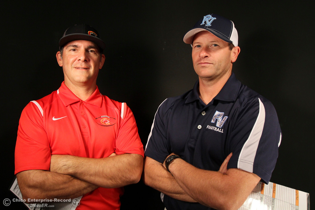 . Chico High\'s Jason Alvistar and Pleasant Valley\'s Mark Cooley are ready to lead their football teams into Friday\'s Almond Bowl Tuesday October 20, 2015 in Chico, Calif. (Emily Bertolino -- Enterprise-Record)