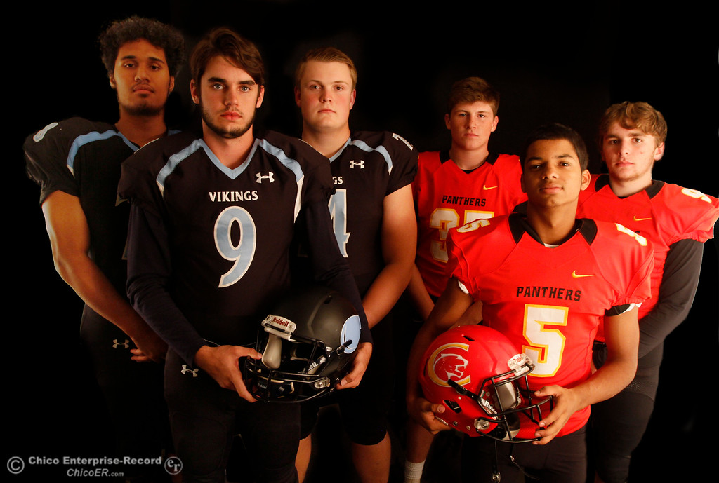 . Pleasant Valley\'s Syrus Tuitele, Kyle Lindquist, Ashton Morgan and Chico High\'s Cody Billson, Kelly Jackson and Ty Polonsky are ready to lead their teams in the 46th Annual Almond Bowl October 18, 2016 at the Enterprise-Record office in Chico, California. (Emily Bertolino -- Enterprise-Record)