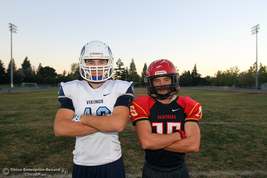 . Linebackers Ryan Steindorf and Miles Fishback will face off for their last Almond Bowl of their high school football careers. Photo taken October 19, 2014. (Emily Bertolino -- Enterprise-Record)