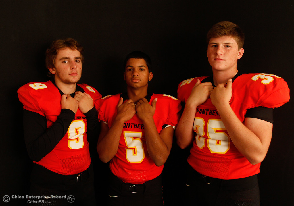 . Chico High\'s Ty Polonsky, Kelly Jackson and Cody Billson at an Almond Bowl preview photoshoot October 18, 2016 at the Enterprise-Record office in Chico, California. (Emily Bertolino -- Enterprise-Record)