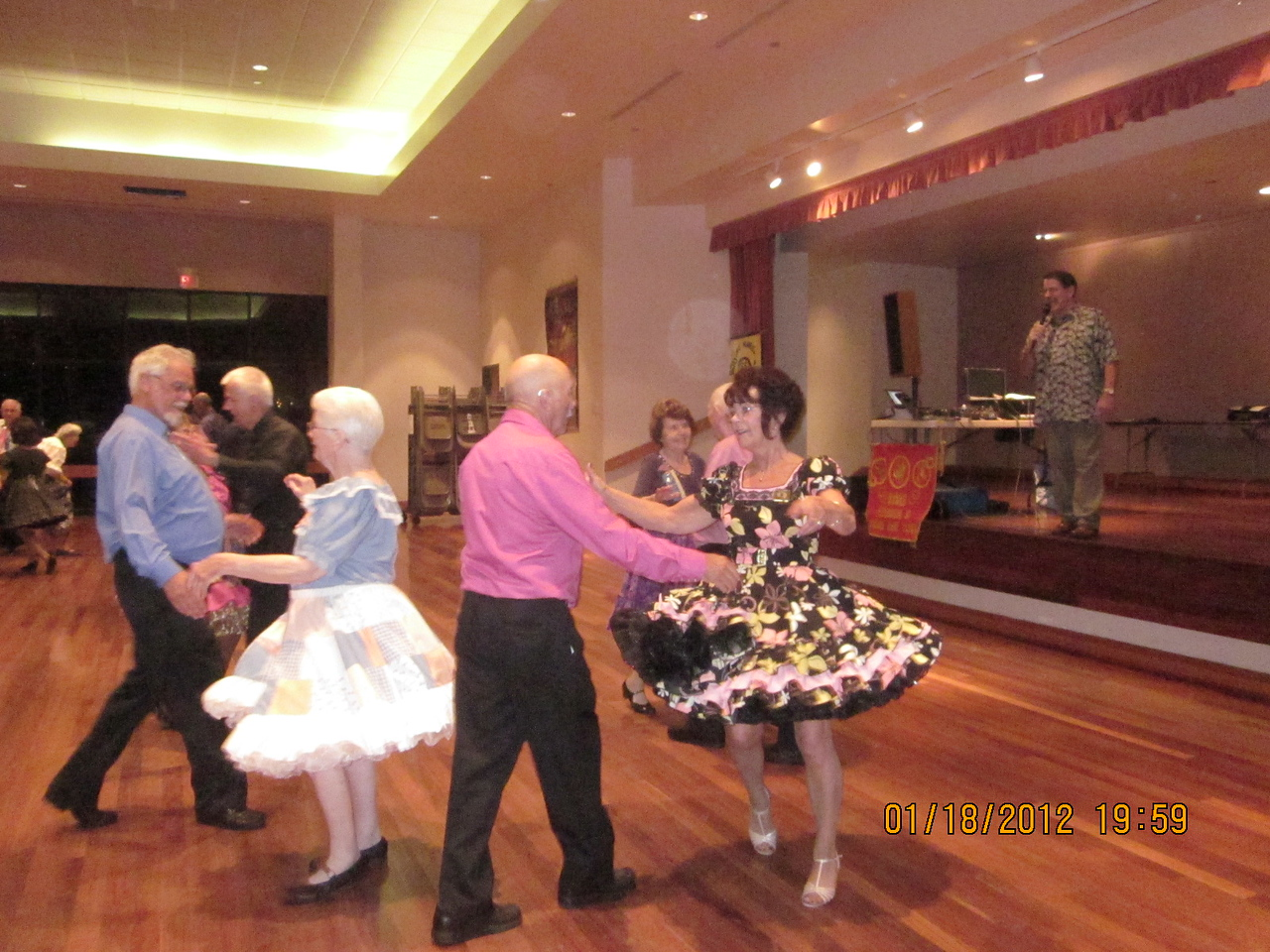 dancers just having fun! Here is Judy with our caller Jerry.