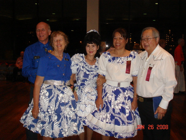 Dave & Ruth (from Maui) - our Kim - 2 other dancers from outer island, all in Hawaii state color