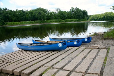 Canoes on the Delaware River in Northwestern New Jersey