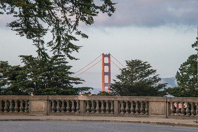 Golden Gate Bridge from the parking lot of the Palace of the Legion of Honor.