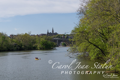 The Potomac River in spring photographed from the bridge leading to Roosevelt Island in Washinton, DC on April 29, 2015.