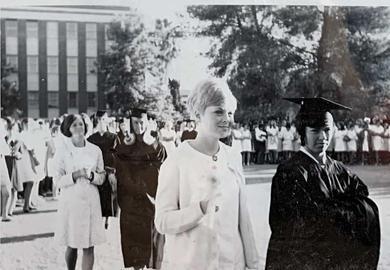 Mortar Board - Cathy Yaeger (deceased),  Mary Hendershott (Kappa and current neighbor)