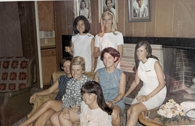 Marcia Metcalfe, Kappa Friends: Cheryl Charles, Diane Baum, Mary Guptil - my future partner, Chi O Peggy Willson - Diane Ong