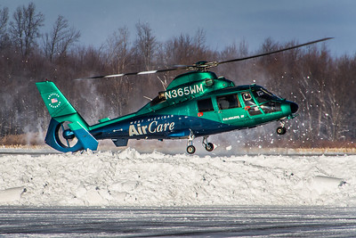 N365WM - West Michigan Air Care - Aerospatiale AS-365-N2 Dauphin - Kickin' Up a Little Snow! - Landing on KLPR Runway 07