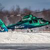 N365WM - West Michigan Air Care - Aerospatiale AS-365-N2 Dauphin - Kickin' Up a Little Snow! - Landing on KLPR Runway 07
