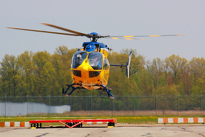 N261MH - Headed for the Pad at KLPR!  © 2010 Paul L. Csizmadia  All Rights Reserved  No Use Allowed without Permission  View on black  N261MH a 'Metro Life Flight' Eurocopter MBB-BK 117 C-2 / EC145  based at KLPR (Lorain County Regional Airport) about to land on the pad at the airport  in Lorain County, Ohio.