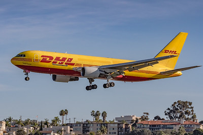 Early Bird! DHL/Atlas Air Inc. Boeing 767 on a morning 'Final' for KSAN/San Diego International Airport Runway 27