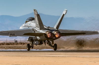 'Super Hornet' Heat! - Departing NAVY 'Super Hornet' Blurs the Background as it Lifts Off the Runway at NAF El CEntro