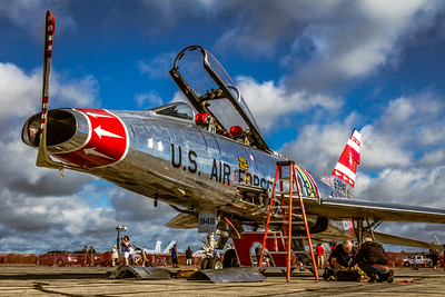Getting a Little Pre-Flight Attention! - N2011V - North American F-100F 'Super Sabre'