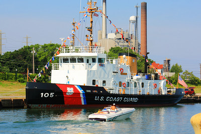 USCGC 'Neah Bay' (WTGB-105) - Visiting Lorain, Ohio!  © 2010 Paul L. Csizmadia  All Rights Reserved  No Use Allowed without Permission  USCG Cutter 'Neah Bay' dockside on a sunny Sunday morning in Lorain, Ohio.  A member of the Coast Guard's 140-foot Icebreaking Tug (WTGB) - Bay Class, state of the art icebreakers used primarily for domestic ice breaking duties. They are named after American Bays and are stationed mainly in Northeast U.S. and Great Lakes.  Home port of the  'Neah Bay' is Cleveland, Ohio.  She was in town providing tours this weekend for Lorain's Port Fest.
