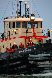 An Early Morning Start!  The crew of the tug 'Cheraw'  off to an early start in the harbor waters of Lorain, Ohio.