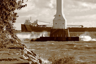 'S.S. John G. Munson' - Passing the Huron River Light!  Having cleared the mouth of the Huron River, the 'S.S. John G. Munson' prepares to 'come about', changing direction by 180 degrees on Lake Erie to head for Ashtabula, Ohio.