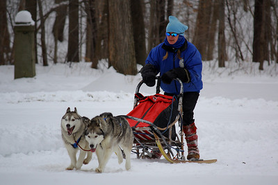 "Dog Sledding - Winter Days!  Dog Sledding Demonstration at 'Winter Festival Days"" held at the ""Vermilion River Reservation of the Lorain County Metroparks"" in Vermillion, OH."