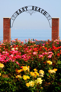 "Stop to smell the Roses!  Within the ""Rose Gardens' looking toward the 'East Beach Gateway' and a blue Lake Erie at Lakeview Park in Lorain, Ohio."