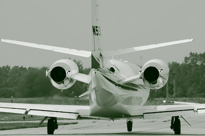 N515CS - Simply Monochrome Taxiing Out at KLPR!  © 2010 Paul L. Csizmadia  All Rights Reserved  No Use Allowed without Permission  With a monochrome twist, N515CS a Cessna Citation 560XL clears the ramp area while departing from KLPR (Lorain County Regional Airport).