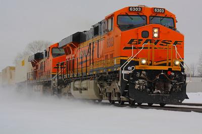 BNSF #6303 - Brilliant Orange in the Snow!