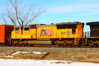 Union Pacific #3955 - With 'Old Glory' on the Side!