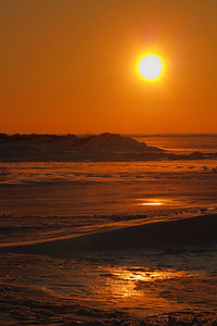Sunset - Along a Frozen Beach!