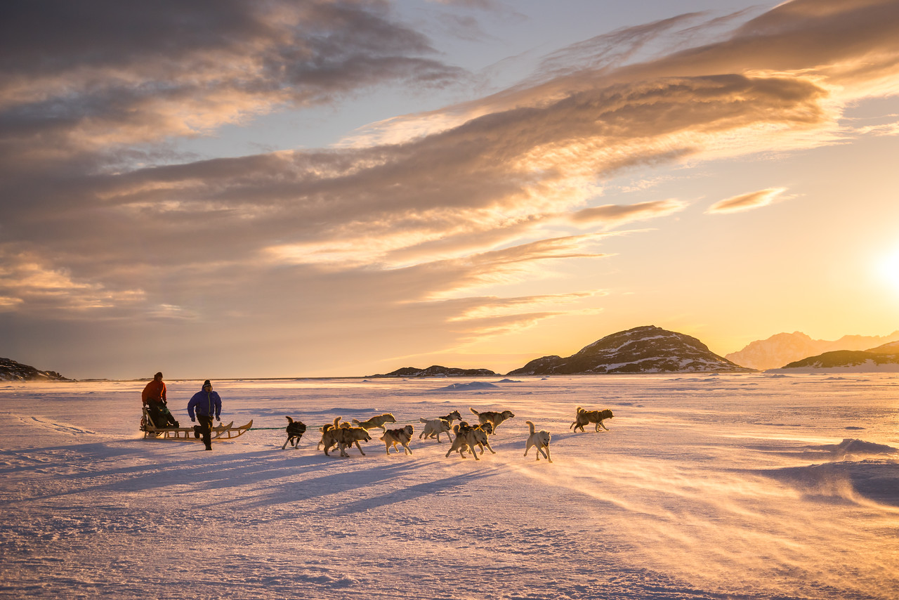 Hunters leaving Kulusuk in the evening, East Greenland