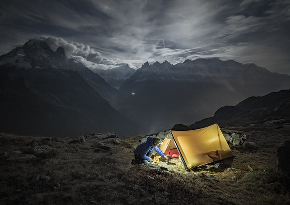 Bivouac in the Aiguilles Rouges, Chamonix, France