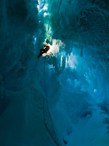 Nathan Bowen jumaring out of a bergshrund, winter training, Adelaide Island, Antarctica