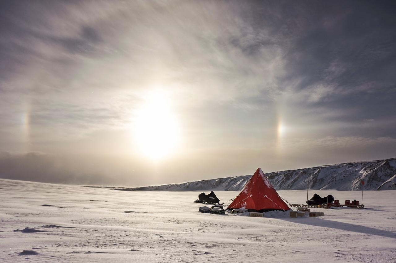 Sundogs over camp in Ugleelv, North-East Greenland