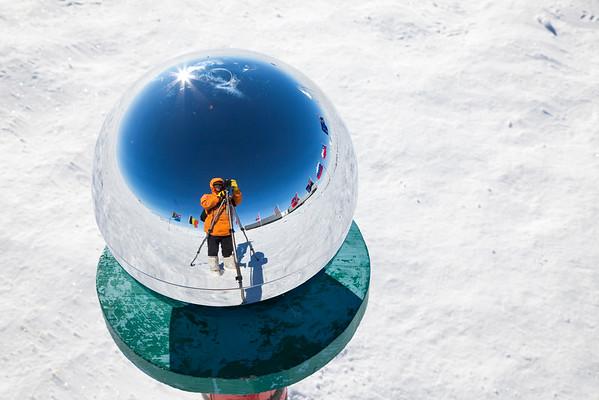 Ceremonial South Pole marker, Antarctica