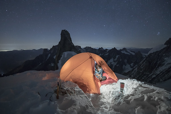 Tom Coney bivouacing by the Aiguille de Rochefort