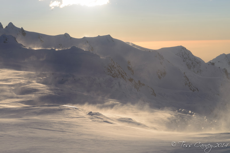 Afternoon light and wind on the Franz Josep Headwall with the Fritz Range in the background