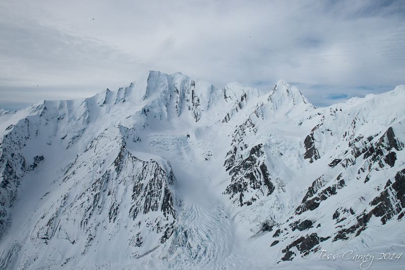 The West face of Eli De Beaumont with the Montague Glacier on lookers left and the Times Glacier on the right.  Both glaciers are tributaries of the Spencer Glacier