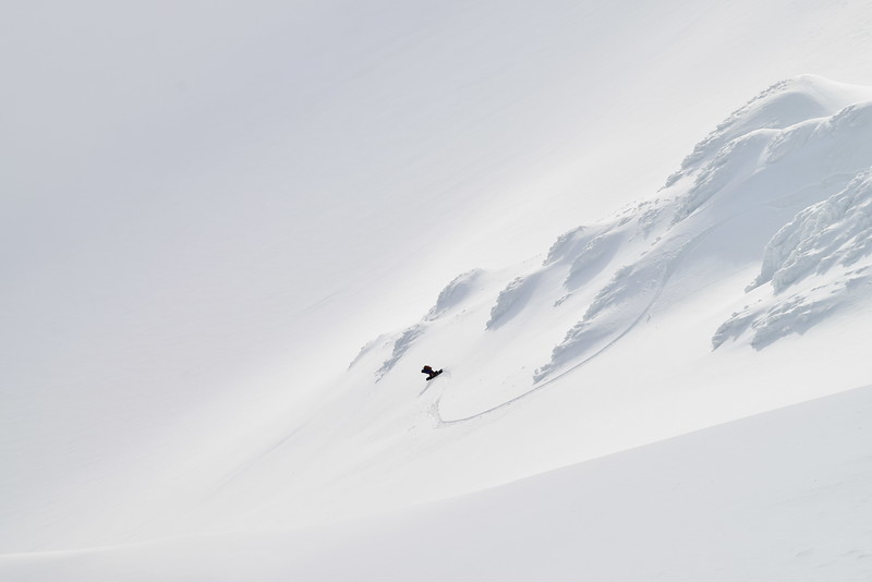 Snowboarder Tess Carney on South face of the Tindfjöll Glacier in Iceland.  Photo: Shane Orchard