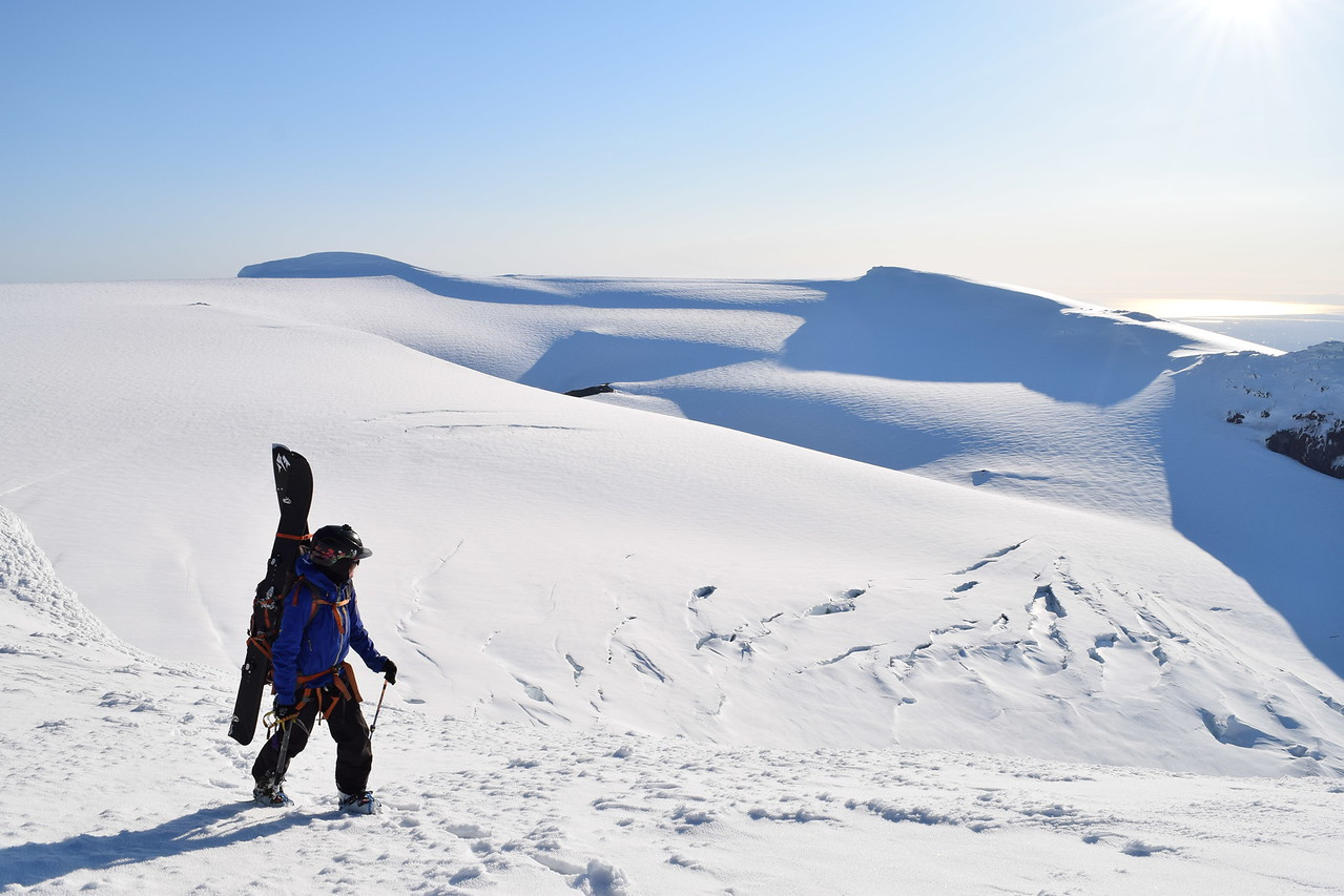 Mountineer Tess Carney approaching the East Peak of Eyjafjöll in Iceland.  Photo by Shane Orchard