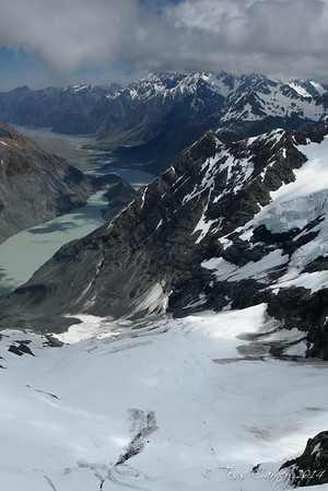 Ruth Glacier with The Godley Glacier lakes in the background