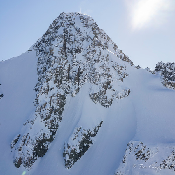 This is Warrior and our objective for the next day.  We could see the top of the line but we could not see the entire couloir until we were around the shoulder to the right.