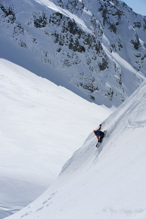 Shane dropping into to the Kirk Glacier