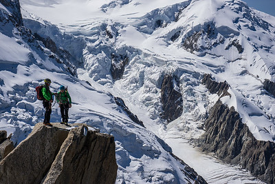 Climbers on the Cosmiques Arete, Aiguille du Midi. Chamonix, France.