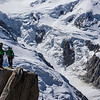 Climbers on the Cosmiques Arete, Aiguille du Midi. Chamonix, France.