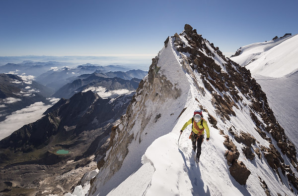 Phil Ashby on the SE ridge of Dufourspitze (Monte Rosa), Switzerland, Italy
