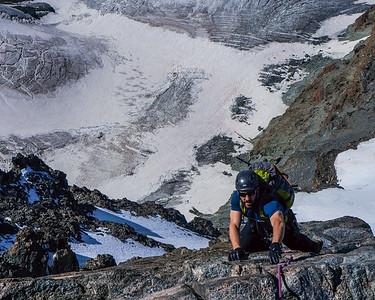 Climber on the Rimpfischorn. Zermatt, Switzerland.