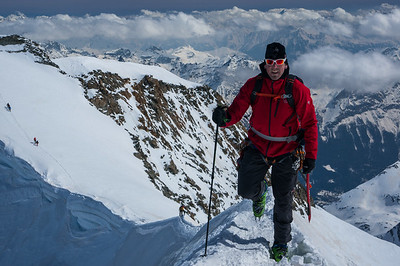 Rich Meyer putting the mountaineering in ski mountaineering on Piz Palu. Engadin, Switzerland.