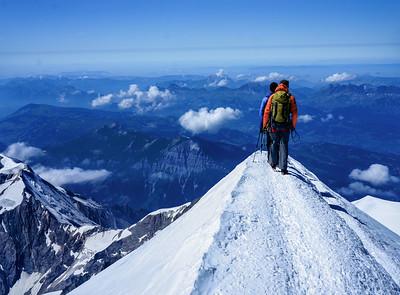 Leaving the summit of Mont Blanc, highest peak in Western Europe.